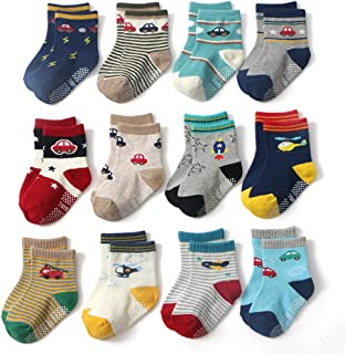 CHUNG Little Boys Cotton Crew Socks Blue Stripe Star Print Pack of 5/10