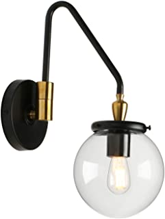 Pathson Industrial Glass Wall Sconce Lighting, Adjustable Swing Arm Wall Lamp for Bedside, Vintage Style Wall Light Fixtures for E26 Bulbs Brass Dark Finish (Black as Picture)