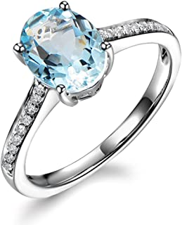 Unique Vintage Genuine Aquamarine for Women 14K White Gold Natural Diamond Engagement March Birthstone Wedding Ring
