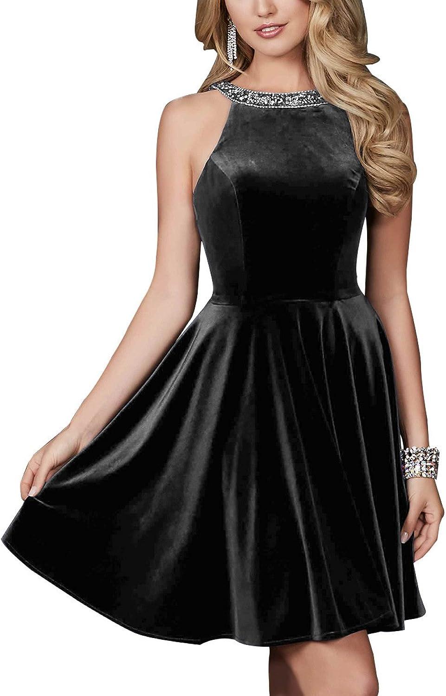Homecoming Gown Velvet Beaded Short Formal Straps Cocktail Dress Women Prom Party Dresses