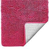 Gorilla Grip Original Luxus Chenille Badteppich, 17 x 24, extra weiche und saugfähige Shaggy Teppiche, maschinenwaschbar, perfekter Plüsch Teppich Matten für Badewanne, Dusche und Bad, Hot Pink