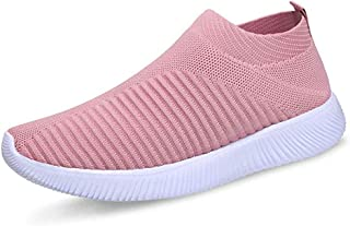 FUDYNMALC Women's Lightweight Running Athletic Sneakers Comfortable Breathable Mesh Slip-on Walking Tennis Shoes