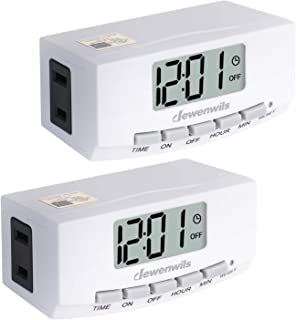 DEWENWILS 2 Pack Indoor Outlet Lamp Timer Plug in, Digital Programmable Timer Switch with1 Polarized Outlet, Space Saving Bar Timer for Electrical Outlets, Grow Lighting,1/2 HP, UL Listed