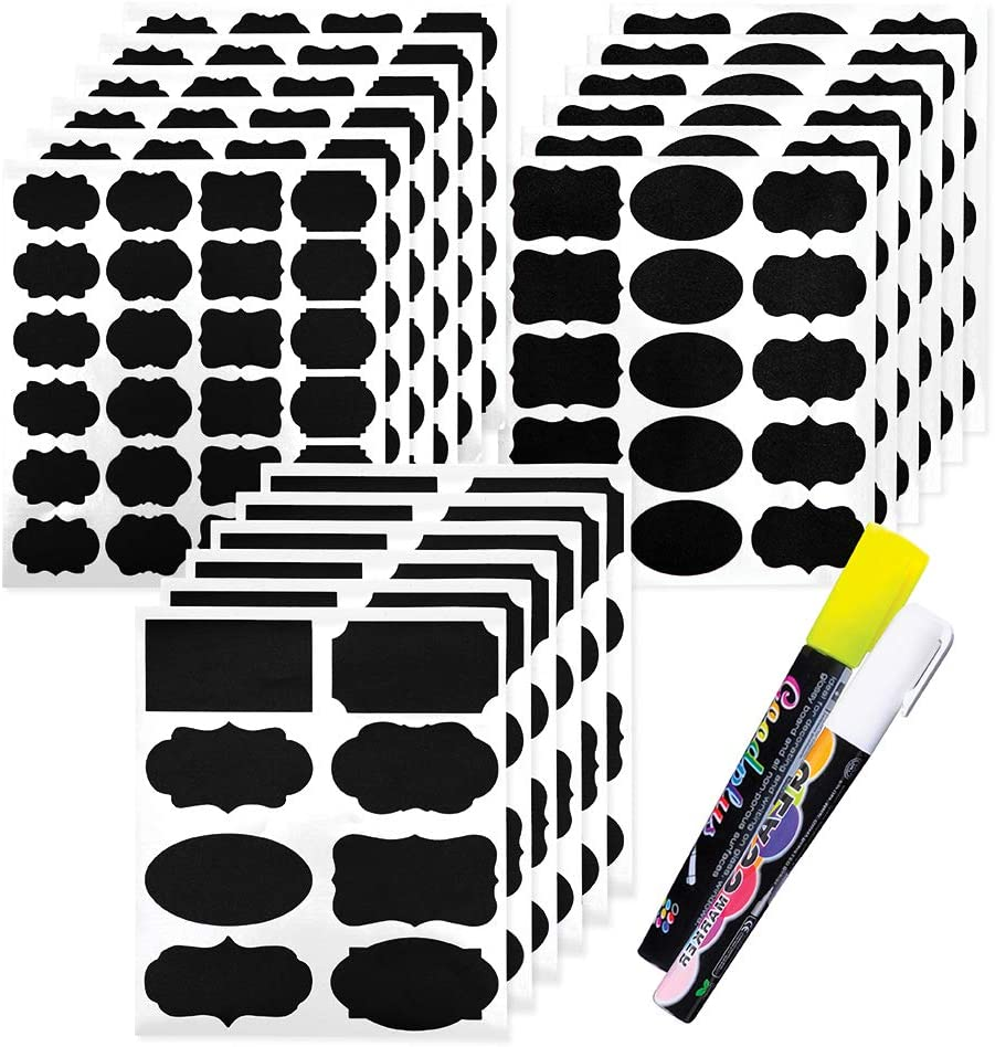 100 25 50 Vinyl Fancy Rectangle \u03b6 Chalkboard Labels Black Reusable Decal Sticker Wedding Party Mason Jars Spices Storage Kitchen Pantry