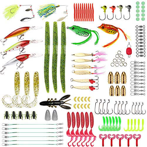 Gimland Soft Fishing Lures Kit for Bass, Baits Tackle Including Trout, Salmon, Spoon Lures, Soft Plastic Worms, CrankBait, Jigs, Fishing Lure Set with Free Tackle Box (137 pcs)