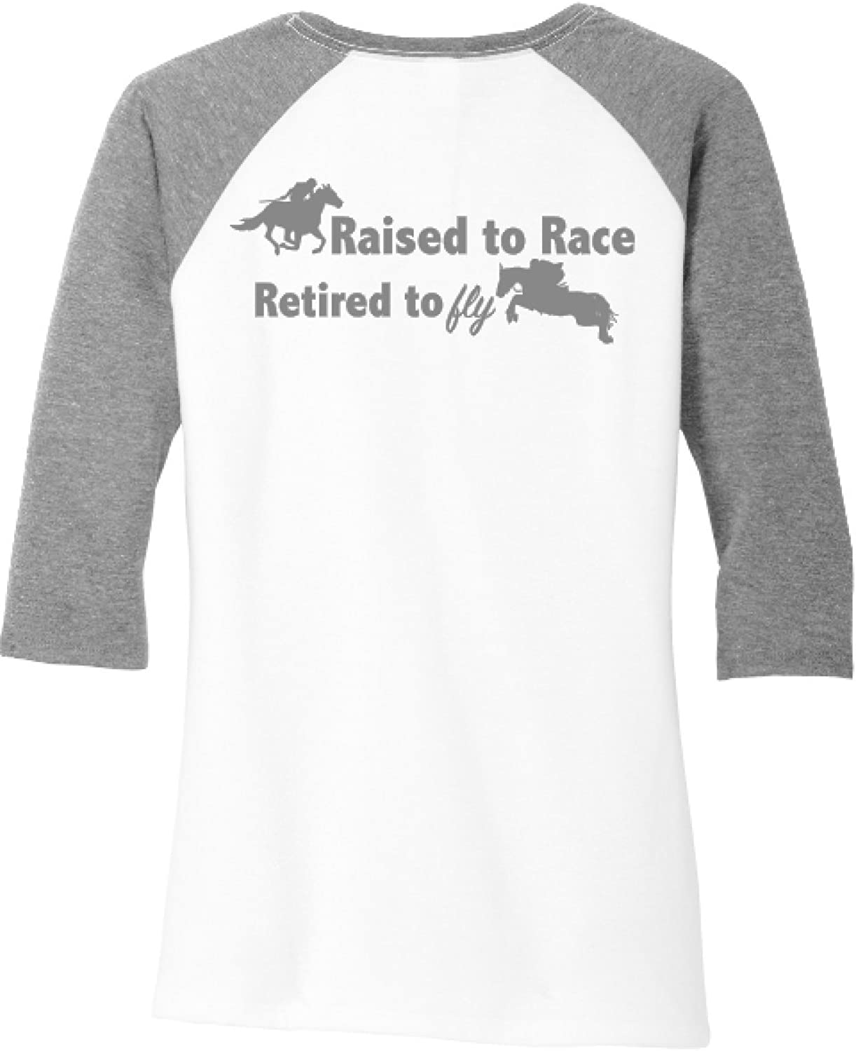 Ingenie.us Raised to Race, Retired to Fly OTTB Raglan Shirt Equine Clothes Rescue