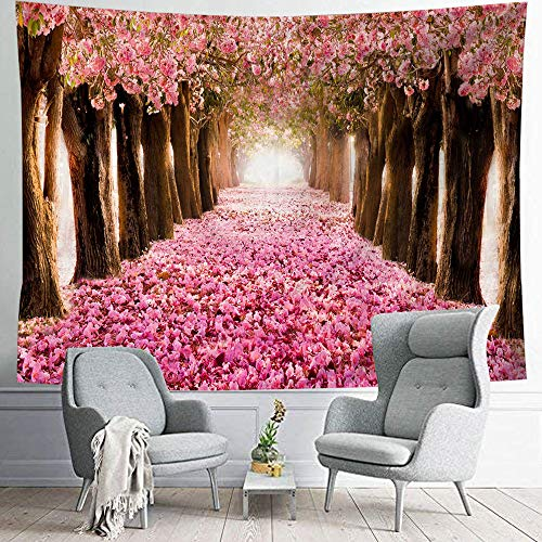 Emoi タペストリー おしゃれ 風景 壁飾り 美しい ピンク花の小路 花の木 和風 インテリア 窓カーテン 模様替え 春の雰囲気 パイル生地 多機能 背景布 新居祝いギフト(150x200)