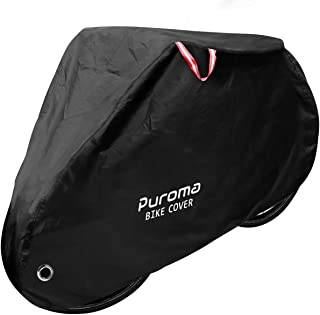 Puroma Bike Cover Outdoor Waterproof Bicycle Covers Rain Sun UV Dust Wind Proof with Lock Hole for Mountain Road Electric Bike, XL (Black-Thickened)
