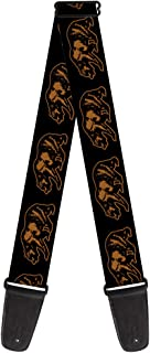 Buckle-Down Guitar Strap - California Grizzly Bear Outline Black/Brown - 2