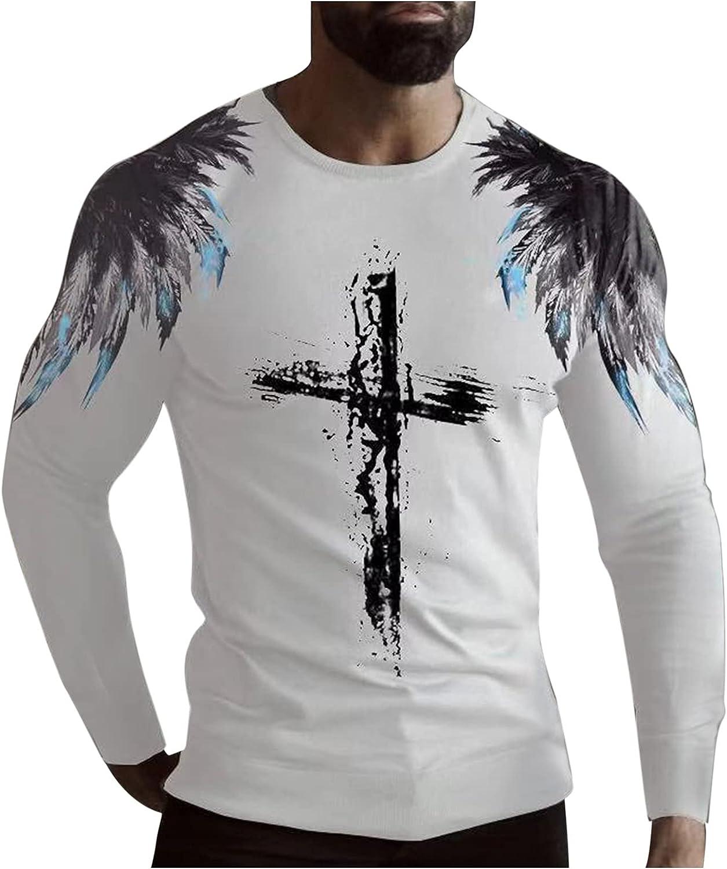 FORUU Men's Graphic Tees 2021 Fall Casual Cross Feather Print Long Sleeve Tops Round Neck T Shirt Cute Mens Shirts