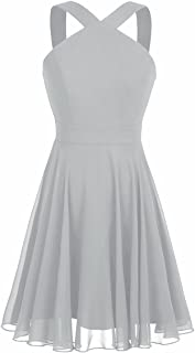 Womens Chiffon Criss-Cross Straps Evening Party Prom Gown Bridesmaid Short Dress