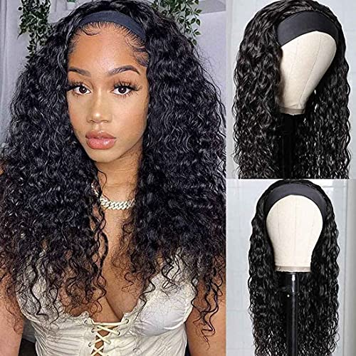 Beauty Forever Headband Human Hair Wigs Water Wave Glueless Human Hair Wigs With Pre-attached Scarf Non Lace Front Wigs for women Natural Color 150% Density 20 Inch