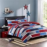 Red, White & Blue Patriotic, Nautical Full/Queen Quilt, Shams & Toss Pillow (4 Piece Bedding) + Homemade Wax MELT