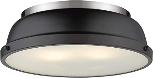 2021 Golden Lighting 3602-14 PW-BLK Duncan Flush 2021 Mount, Pewter with Matte high quality Black Shade outlet sale