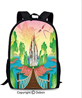 Leisure Theft Prevention Backpack, Princess Castle Above Wooden Bridge and Phoenix Bird Fairy, School Bag :Suitable for Men and Women, School, Travel, Daily use, etc.Multicolor