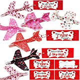 Kiddokids 28 Valentines Day Gifts Cards with Foam Airplanes Valentine's Greeting Cards for Kids School Classroom Valentine's Exchange Gift