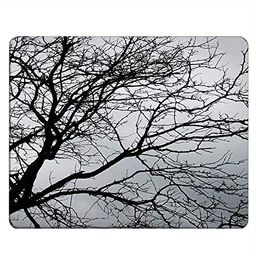 NICOKEE Tree Rectangle Gaming Mousepad Black and White Tree Branch Mouse Pad Mouse Mat for Computer Desk Laptop Office 9.5 X 7.9 Inch Non-Slip Rubber