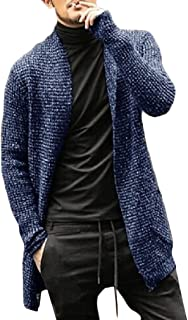 Howely Men's Sweater Knitted Trench Coat Open Front Long Sleeve Cardigan