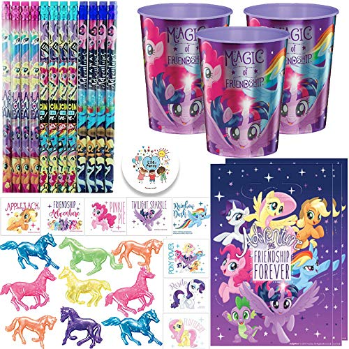 My Little Pony Friendship Adventures Birthday Party Favor Pack and Goodie Bag Fillers For 12 Guests With My Little Pony Favor Cup, Pencils, Tattoos, Goody Bags, Horse Toys, and Pin