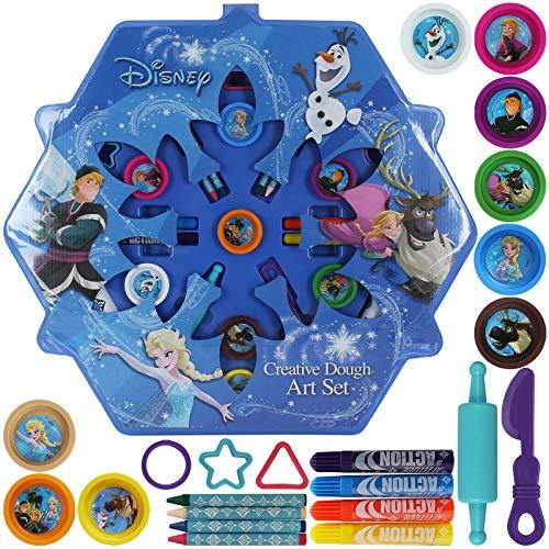 TW24 Disney Frozen Kreativ Knete und Malset Kinder Mal Set Knetset malen Stifte Wachsmalstifte