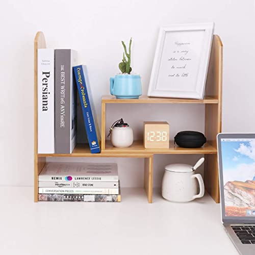 UNHO Bamboo Desk Organizer Adjustable Desktop Bookshelf Rack Countertop Storage Organizer for Office Kitchen Spice Books