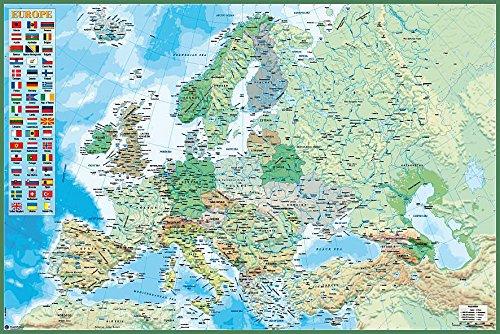 Close Up Mapa Político de Europa con Bandera de los países (91,5cm x 61cm)