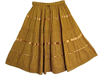 Yoga Trendz Indian Bohemian Crinkled Cotton Embroidered Tiered Mid-Length Skirt No54
