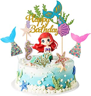Mermaid Cake Topper Happy Birthday Cake Topper Glitter Under The Sea Cupcake Toppers Birthday Cake Decoration Supplies (6 Pieces)