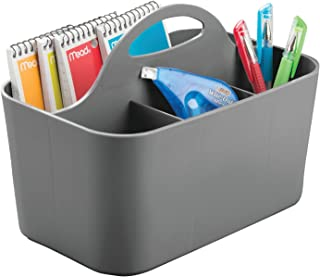 mDesign boîte de rangement transportable – rangement à papeterie en plastique – panier à poignée pour crayons, ciseaux, et...