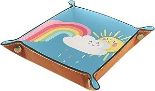 Dessin animé, nuage, arc-en-ciel Tiroir Plateau Bureau Papeterie Articles Divers Gadget Pliable En Cuir Organisateur Boîte...