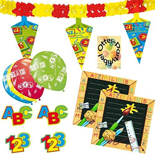 HHO Dekoset Dekoration Schulanfang Schuleinführung Ballons Servietten Girlande Konfetti