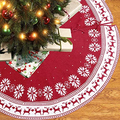 AMAZAC Christmas Tree Skirt in Red/White Snowflake Reindeer Design for Christmas Trees Christmas Decorations Indoor, 48' Tree Skirt for Holiday Decor, Outdoor Decor