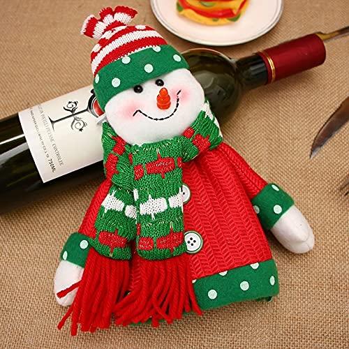 MONTA Decoración de Navidad Suministros de vacaciones Navidad Tinto Botella de Vino Tinto Cubierta de Santa Snowman Champagne Botella Cubierta