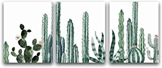"""Simple Life Art Print Cactus Flower Art Painting Set of 3 (8""""X10""""), Botanical Watercolor Canvas Art Poster for Home Or Office Wall Decor, No Frame"""
