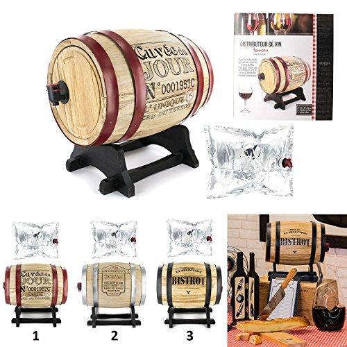 les colis noirs lcn Distributeur Tonneau de Vin 5 litres Mod1 Le Caviste - Décoration Boisson - 666