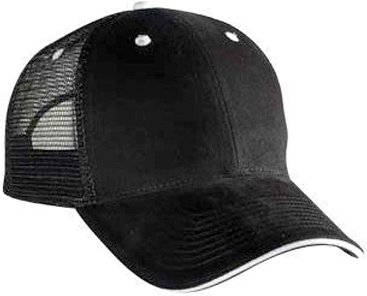 OTTO Brushed Bull Denim Sandwich Visor Low Profile Style Mesh Back Caps