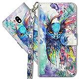 MRSTER Funda para Samsung Galaxy J3 2017, 3D Brillos Carcasa Libro Flip Case Antigolpes Cartera PU Cuero Funda con Soporte para Samsung Galaxy J3 2017 J330. YX 3D Colorful Owl