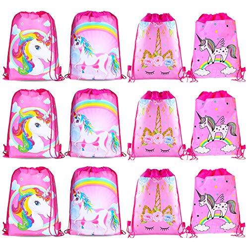 12 Piezas Unicornio para Bolsos,BESTZY Unicornio Bolsa Regalo,Bolsas con cordón de Unicornio,Mochila Bolsa Dulces Gimnasio Backpack para Infantil Niñas Fiesta Cumpleaños Party.