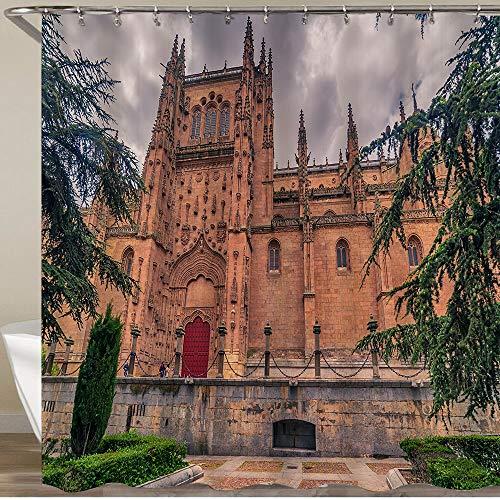 KGSPK Cortinas de Ducha,Salamanca España La Catedral Nueva Catedral Nueva En La Puesta De Sol,Impermeable Cortinas Baño y Lavables Cortinas Bañera 180x180CM