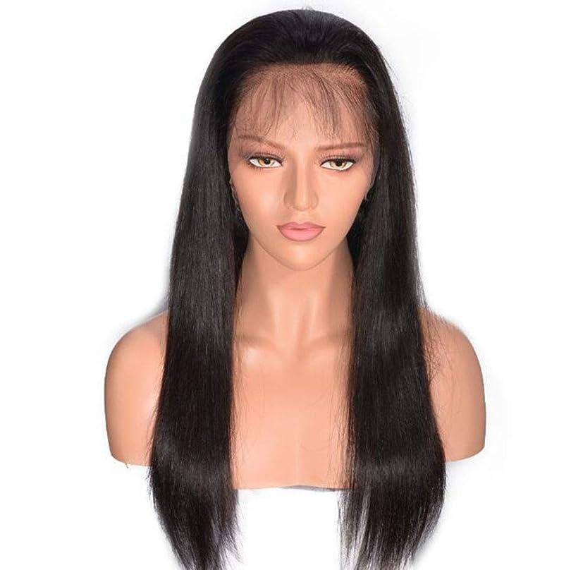 タオル風が強い通行人フルハンドレースかつら、130%密度フルレースロングストレートリアル人間のヘアピースヘアエクステンションナチュラルカラー用女性日常使用パーティー衣装,8inch