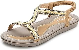 VOWAN Women's Bohemia Rhinestone Flat Sandals Summer Fashion Open Toe Comfy Elastic Beach Sandal Shoes