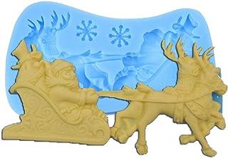 CCChaRLes 3D Diy Noël Père Noël Traîneau Silicone Savon Moule Bougie Gâteau Cuisson Outils