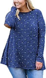 OHDREAM Womens Polka Dot Tops Plus Size Long Sleeve T Shirts Casual Tunic Tee with Elbow Patch