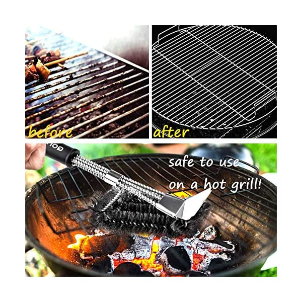 Qomolo Grill Brush 3 in 1 BBQ Grill Brush with Strong Stainless Steel Scraper Grill Cleaning Brush for Charcoal Electric… 2