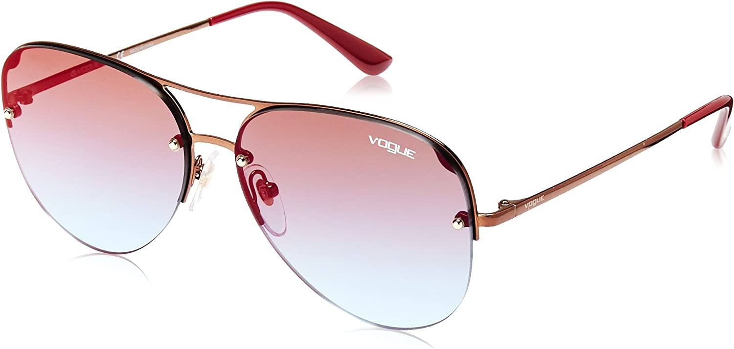 Vogue Women's Metal Woman Sunglass NonPolarized Iridium Aviator, COPPER 58 mm