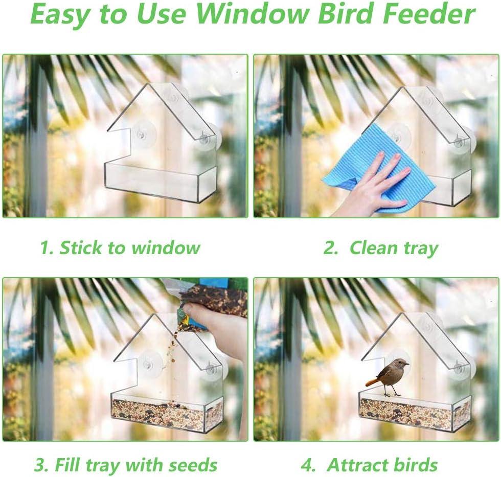 15*7*15CM Transparent Garden Window Bird Feeders Large Window Bird Feeder Stations Squirrel Proof Window Bird Feeders with 3 Suction Cups for Birds Eating Hanging Window Bird Feeders