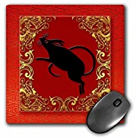 3drose LLC 8x 8x 0.25インチマウスパッド、Chinese Zodiac Year of the Ratレッド/ゴールド/ブラック( MP _ 101853_ 1)
