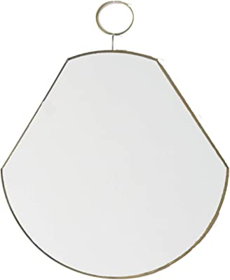 1 BHK Interiors Pear Shaped Brass Wall Mirror with Loop