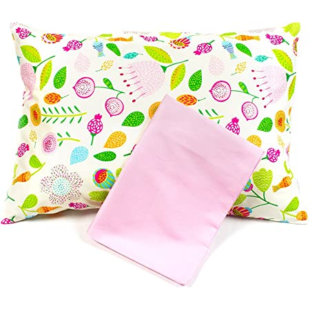 1 Floral 1 Solid Pink Pillow Covers for Toddler//Travel Pillows 2 Pillowcases
