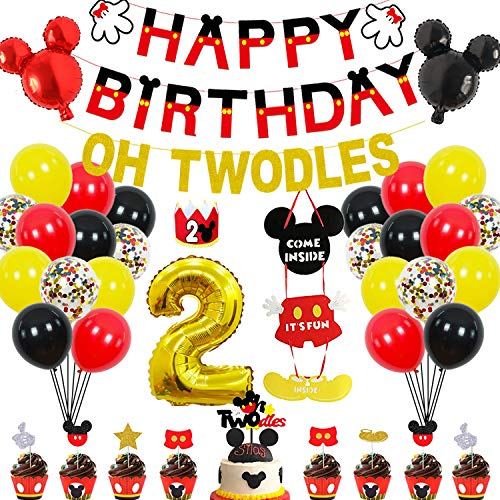 2nd Mickey Mouse Birthday Party Supplies Decorations 57Pcs - HAPPY BIRTHDAY Banner OH TWODLES Banner Red/Yellow/Black/Confetti Balloons Number 2 Foil Balloon Mickey Mouse Balloons Hat Door Sign Cupcake Toppers Cake Topper Birthday Decorations for Boys Girls Kids Babies